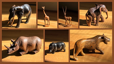 My mother collected wooden animals while touring in East Africa. For years they roamed free on her mantel and display cases. Family members took a few smaller carvings but we've decided to free the beasts. They will be sold with other items of the estate and will probably end up prowling in other homes. I hope the new owners will enjoy them as much as my mother did.