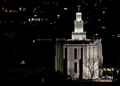 The Saint George Mormon Temple at night. A 300mm telephoto shot from our Inn on the Cliff balcony. Night shots like this expose the deficiencies of your character, software, and equipment.