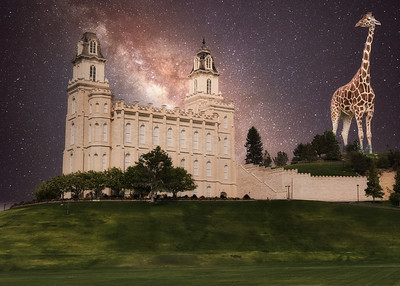 The Mormon temple in Manti Utah viewed through believer glasses.