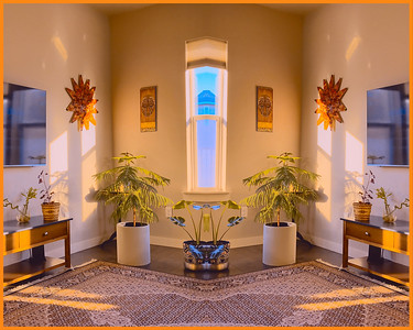 A simple bilateral reflection combined with color toning turns our basic living room into a shining symmetrical shrine.