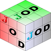 Variation on first JOD cube. Color pattern now runs RGB primary color. OD letters size increased.