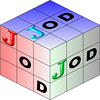 "My first pass at a new <a href=""http://bakerjd99.wordpress.com/the-jod-page/"">JOD</a> logo for version 0.9.5+. My meager artistic skills are mostly confined to stealing. This design is based on a nice TikZ  3D Sudoku cube example: see http://www.texample.net/tikz/examples/sudoku-3d-cube/"