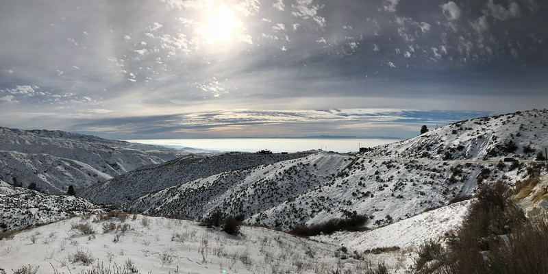 Treasure Valley inversion layer from Bogus Basin road.  The valley floor looked like a white lake from Bogus Basin road today. Once you were above 1400 meters the sky was bright and clear but you wouldn't know it down in the valley.