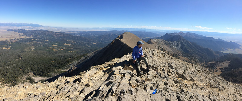 Mali on the top of Sacagawea Peak. The view is mostly to the southeast.