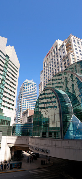 Indianapolis Artsgarden.   The Artsgarden is an urban above street pedistrian bridge that covers an entire intersection.
