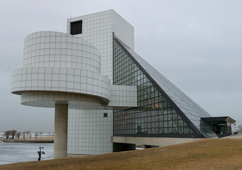 The Rock and Roll Hall of Fame in Cleveland.  We visited this curious monument to boomer nostalgia on a grey murky day and I only had my prime lens.  This image is a three frame vertical hand held panorama.