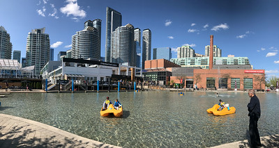 The Harborfront paddle boat pool and surrounding towers.