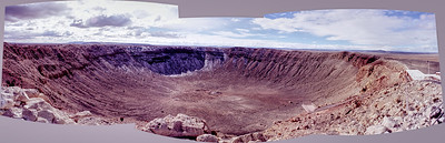 In 2004 we visited Meteor Crater in northern Arizona. It had been on my bucket list since I was a child and it did not disappoint. As we were leaving I stood on the edge of the crater and quickly shot a series of slides with the intention of later building a panorama. My early attempts to convert my slide scans to a panorama did not work. The frames were not aligned and the exposures were marginal. Well, as I have noted before, panorama software is steadily improving. I dropped the frames into Affinity Photo today and it glued them together about as well as you could expect. The frames are still poorly aligned so I decided to go with a nonrectangular border. Also, the exposures were still marginal. Especially the leftmost frame that was overexposed in the sky and underexposed in the crater. My previous attempts to adjust the tones were unsatisfactory but applying HDR tone mapping did the trick.