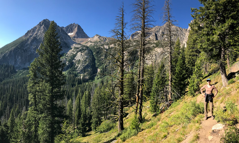 Mali on the Goat Lake Trail in the Sawtooth mountains.