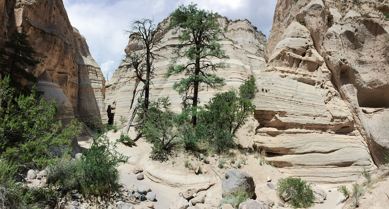 I shot this iPhone panorama inside the Tent Rocks slot canyon.  Usually, iPhone panoramas disappoint me but sometimes they work. The color balance of the original image was way to warm but the numerous, nearly perfectly gray volcanic rocks, in the canyon provided nice color calibration targets.