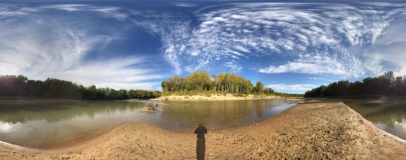 """A 360 degree Google iPhone Photosphere of the Meramac river in Castlewood state park. Despite being a complete wrap around image the terrain looks surprisingly normal. The individual frames have been severly distorted to achieve this look. <a href=""""https://www.google.com/maps/views/view/109459250977988268850/gphoto/6063899301031558434"""">Click this sentence to browse the same image in a 360 viewer.</a> It's going to be fun experimenting with this app."""