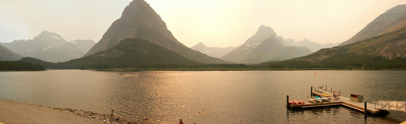 Swiftcurrent lake from the balcony of the Many Glacier Hotel in Glacier National Park.