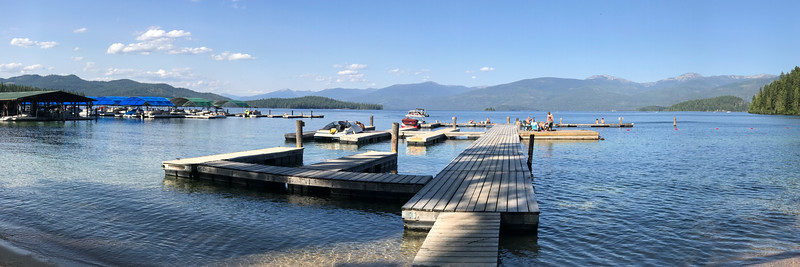 Boat docks and piers near Hill's Resort on Priest Lake.
