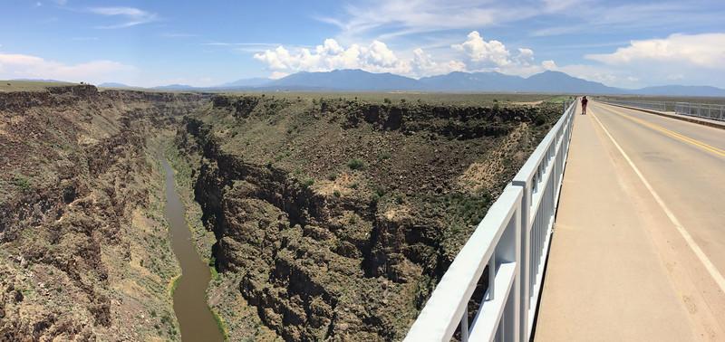 An iPhone panorama from the Taos Rio Grande Gorge Bridge.