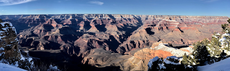 The Grand Canyon from the South Rim. My daughter decided she would rather see the Grand Canyon than spend time and money on the Vegas strip. The strip is gaudy and the canyon is awesome. Always go with awesome!  The South Rim is about a five-hour drive from Vegas, far enough to make you think twice about popping over for the day. We thought we could get enough of the canyon by visiting the famous Sky Walk. The Sky Walk is on Indian land and much closer to Vegas: about two and a half hours. We went to the Sky Walk first but it was disappointing. They wouldn't let you take cameras on the Sky Walk and canyon west, while a fine canyon, is not the Grand Canyon. We decided to see the real thing and as always the Grand Canyon did not disappoint.