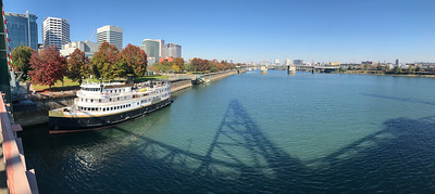 Looking north down the Willamette River in Portland.