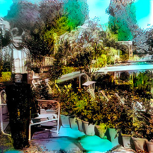 Sometimes the future arrives sooner than expected. After uploading this before and after diptych (click here) of my attempt to restore a 1966 snapshot of me in a Shiraz garden I thought about running this shot through the deepdreamgenerator.com using a color slide, taken around the same time and location as the base style.  The result of this experiment is this interesting false-color rendering. The colors are wrong but not entirely wrong. In any case, this image is more interesting than the original or my first restoration attempt (click here).