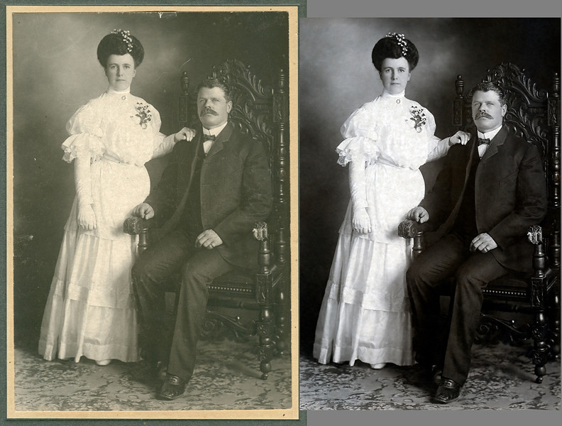 Callie Davis and Frank Smelser 1905 wedding portrait before and after. The surface of this print was covered with thousands of small scratches. Restoration was a chore.