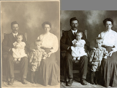 "A before and after of my restoration of a 1908 print of my great-grandparents Bert and Minnie Raver with two of their children. As you can see I have altered the print's aspect ratio. I did this for two reasons: the 4x5 ratio better emphasizes the people and the more pixels you can cut out the fewer you have to edit. The original print was covered with thousands of tiny black spots. I inpainted most of them away and then ""buzzed the background"", (a blur followed with a grain matching addition of noise), to suppress the rest."
