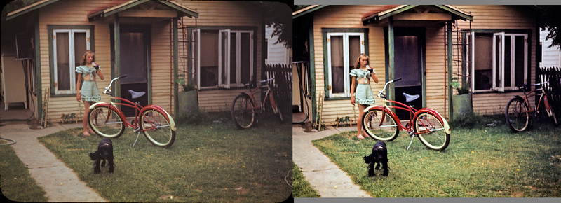 Before and after on one of Hazel's old Kodachrome slides.The slide was poorly exposed to begin with and six decades of neglect did not help. Restoring damaged originals is a cross between retouching and painting.