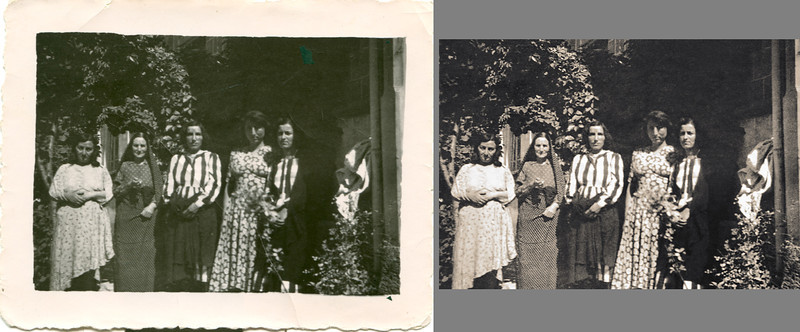 A snapshot of Mali's mother, in the center in the striped blouse, standing beside Mali's paternal grandmother, to Mahin's right in the poka dot dress. The original is a small black and white print. Scanned prints are not as flexible as scanned negatives when it comes to adjusting tones.