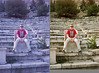 Me in a greek stadium - before and after.