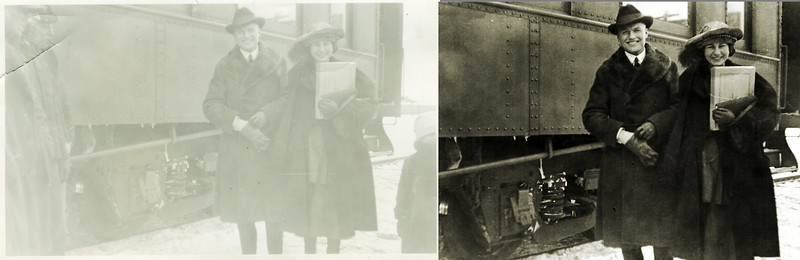 "I always feel guilty when cropping old photographs. Most of the time I just trim uneven edges and exclude poorly framed blocks of sky and ground but sometimes I cut out possibly important content. When restoring this old shot of Frank and Helen beside a rail car I cut away the  ""half men"" on the left and the ""half child"" on the right. This crop results in a better-framed picture of Helen and Frank but the omissions, especially the half child that may be Frank and Helen's daughter Janice, change the nature of the print and make it more an interpretation than a restoration."