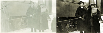 """I always feel guilty when cropping old photographs. Most of the time I just trim uneven edges and exclude poorly framed blocks of sky and ground but sometimes I cut out possibly important content. When restoring this old shot of Frank and Helen beside a rail car I cut away the  """"half men"""" on the left and the """"half child"""" on the right. This crop results in a better-framed picture of Helen and Frank but the omissions, especially the half child that may be Frank and Helen's daughter Janice, change the nature of the print and make it more an interpretation than a restoration."""