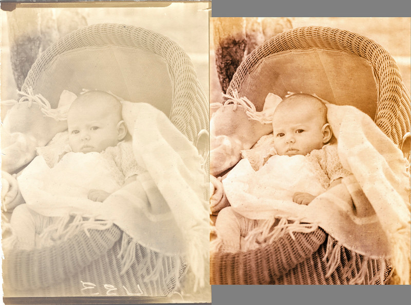 For some restorations, the ones that please or annoy me, I create a before and after diptych. I want to convince myself that my restoration work was worthwhile. Most of the time the restored image is better but in more cases than I would like the original scan is superior. And, every now and then, I cannot decide which one I like the best. This rendering of an old faded patterned print of my mother as a baby is one of those images. The original print is on patterned paper. The pattern imparts a quality that the restoration lacks.  Ansel Adams once wrote that the negative is the score and the print is the performance. For restorers, the scan is the score and the restoration is the performance. Sometimes the music is glorious and clear and sometimes it's rap – rhymes with crap!