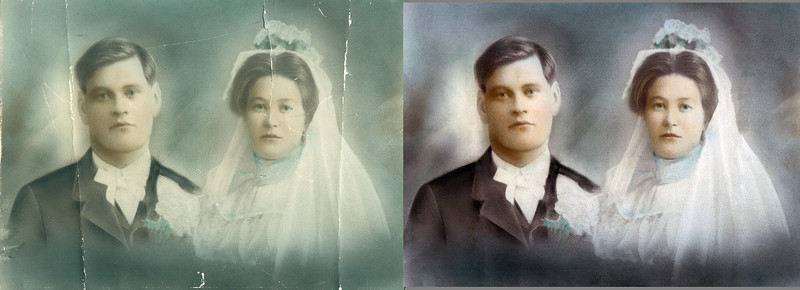 Before and after versions of Gilbert and Paula's 1905 wedding portrait.