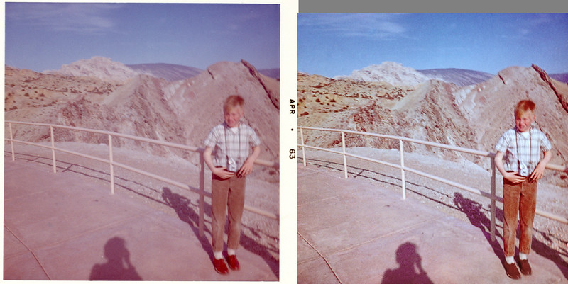 """A before and after of one of my grandmother Helen's 1963 Kodacolor prints. The original print was in good condition but it's blurred. Restoring blurred low-resolution print scans is something I find difficult and I'm seldom happy with my efforts. For this picture I fiddled around attempting to color balance the shot, there is a neutral gray on the camera around my neck, but while I managed to get decent skin tones the shadows were all wrong. I desaturated the shadows, blended in a tone-mapped version to bring out detail and brighten the image and then inpainted away the usual tears, spots, and scratches. Because I preserved the basic tones most of this work is invisible unless you zoom in and """"pixel peep."""""""