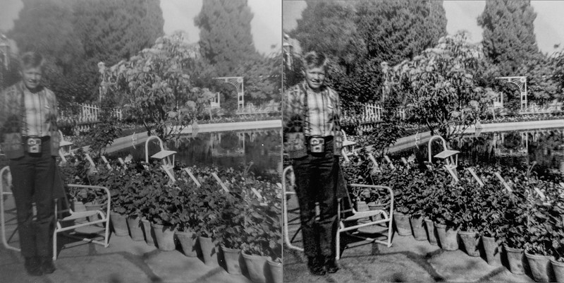 A before and after of the only 1966 shot I've found of me in Shiraz Iran. This restoration is a failure. I am not happy and will revisit this image in the future with more advanced methods.