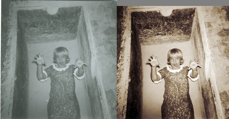 Girl in a sarcophagus before and after. I take considerable liberties with my old black and white Brownie shots. Sometimes the restored image comes out better than expected.