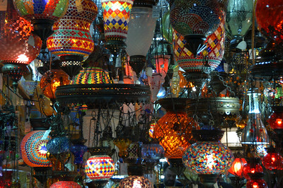 Detail of lamp shop, Grand Bazaar, Istanbul.