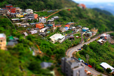 Photo taken from Jiu Fen over-seeing the houses that were built along the side of the mountain. I've converted this nice landscape view into miniature using Photoshop.