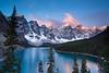 Dawn. Moraine Lake. Near Lake Loiuse, Alberta