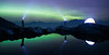Whatcom, Artist Point - Two people and a tent on a lake with aurora borealis