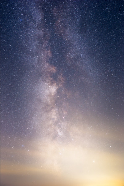 Vantage, Horse Monument - Vertical Milky Way with light clouds on the low horizon