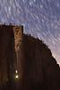 Zion, Big Bend - Climbers ascending Moonlight Buttress in moonlight under star trails