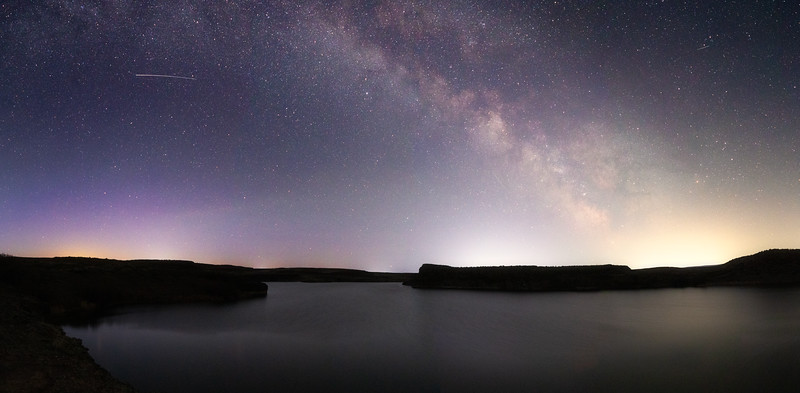 Columbia, Potholes - Milky Way panorama over Lower Goose Lake with very faint aurora