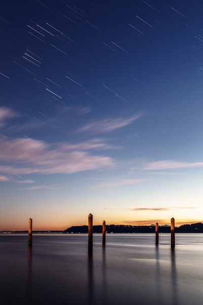 Mukilteo, Beach - Star trails over boat launch at blue hour
