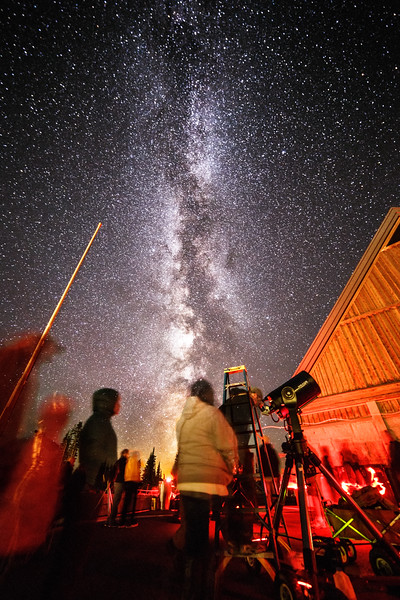 Rainier, Paradise - Star party with telescopes and red light under the Milky Way