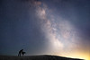 Whatcom, Artist Point - Man in silhouette ironing in the snow under Milky Way