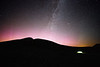 St. Helens, Plains of Abraham - Illuminated tent with pink aurora borealis