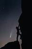 Columbia, Vantage - Rock climber ascending basalt column at night with comet
