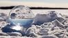 Yellowknife, Dettah Ice Road - Snow globe in snow under full moon