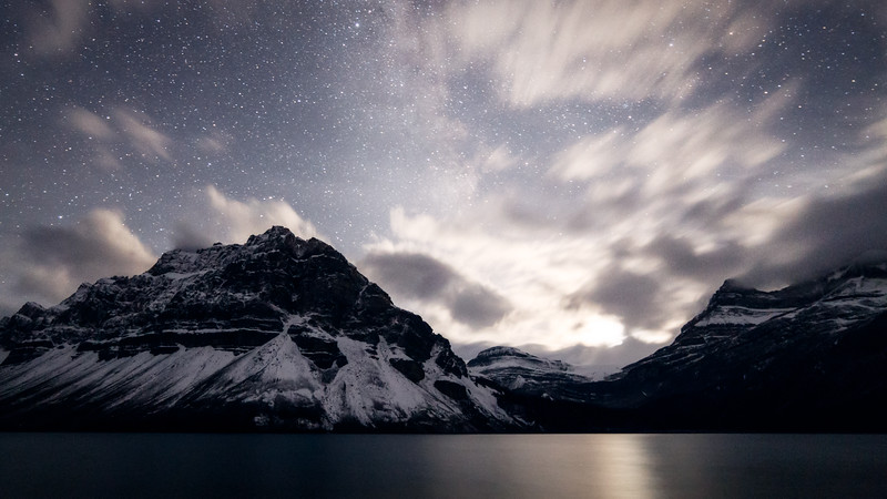 Banff, Bow Lake - Moon setting over Wapta Icefield with clouds