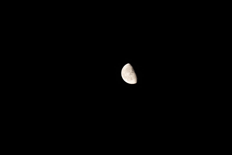 Rainier, Sunrise - Quarter moon in the dark sky