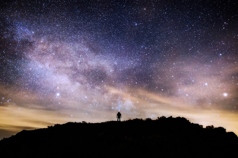 Vantage, Frenchman Coulee - Man standing on hill watching the Milky Way rise