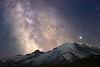 Rainier, Sunrise - Milky Way in long focal length in classic position behind Rainier